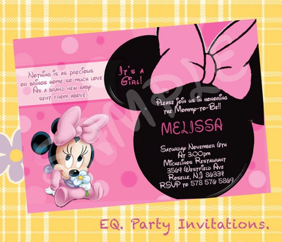 minnie mouse baby shower invitation printable
