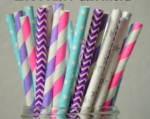 Frozen Birthday, Frozen Party Paper Straw Combo with Pink, Frozen Party,Frozen Party Ideas, Elsa Birthday, theme party frozen, girl birthday