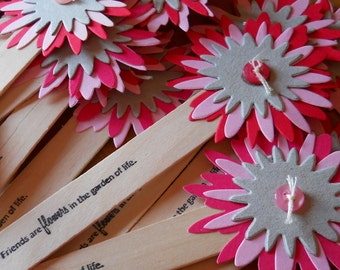 10 Paper flourish bookmarks - flowers and buttons