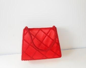 Red Evening Bag, Beaded Evening Bag, Red Handbag, Red Beaded Purse, Red Bead Handbag, Sparkly Red Bag, Vintage Red Bag,  Glamorous EB-0194
