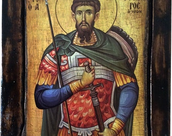 Saint St. Theodore - Tyron - Orthodox Byzantine icon on wood handmade (22.5 cm x 17 cm)