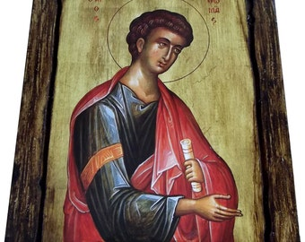Saint St. Thomas - The Apostle - Orthodox Byzantine icon on wood handmade (22.5cm x 17.5cm)