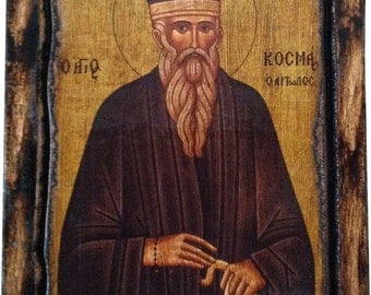 Saint St. Cosmas - Of Aitolia - Orthodox Byzantine icon on wood handmade (22.5cm x 17cm)