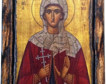 Saint St. Christina - Orthodox Byzantine icon on wood handmade (22.5cm x 17cm)