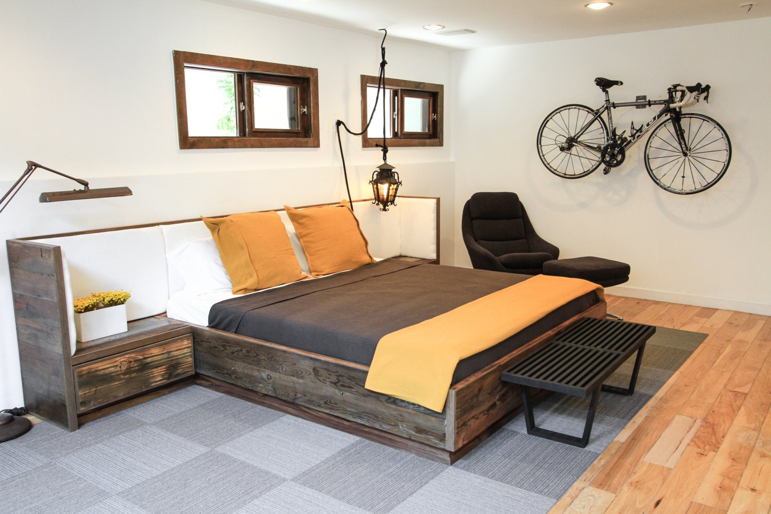 Reclaimed Wood Bed ~ Reclaimed wood bed with upholsterd headboard and nightstands