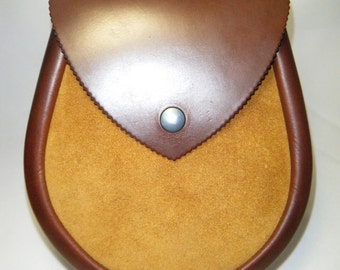Handmade Brown & Antique Gold Suede   Leather Sporran, Lomond Style