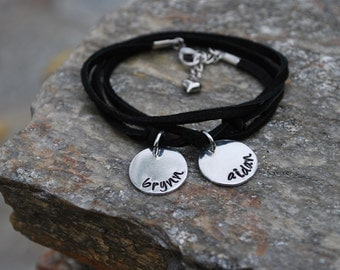Leather Wrap Hand Stamped Bracelet - Mom Jewelry - Children's Names Gift - Stacking Bracelet - Personalized Jewelry