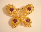 Vintage Statement AVON Large Jeweled Butterfly On Gold Tone