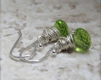 Peridot Onion Earrings Wire Wrapped Jewelry Sterling Silver August Birthstone