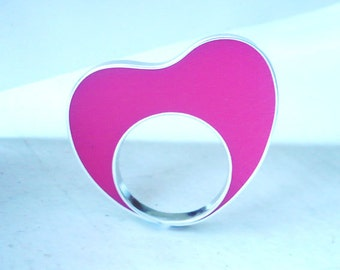 Handmade sterling silver and hot pink heart resin ring.