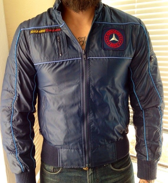 Men 39 s vintage mercedes benz racing jacket california size for Mercedes benz jacket