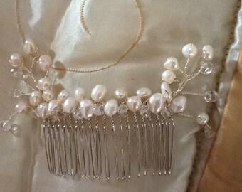 Bridal wedding Vintage freshwater pearls hair comb tiara headdress