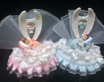 Christening Baptism Boy Girl with Angel Wings Cake Topper Top favor Centerpiece