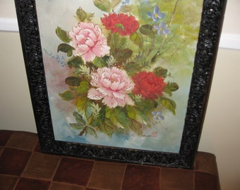 "VINTAGE OIL PAINTING Signed T C Chow In Antique Frame On Canvas 19 1/2"" X 23 1/4"""