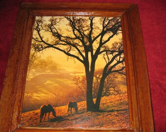 """ANTIQUE FRAME WITH Horses In The Field Laser Photo Art 1970's Frame Measures 22 1/2"""" x 26 3/4"""""""