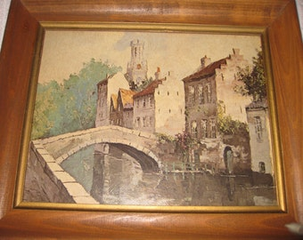 """THE BRIDGE LAARHOVEN Museum Print Editions In Antique Wood Frame With Glass 12 1/2"""" X 10 1/2"""""""