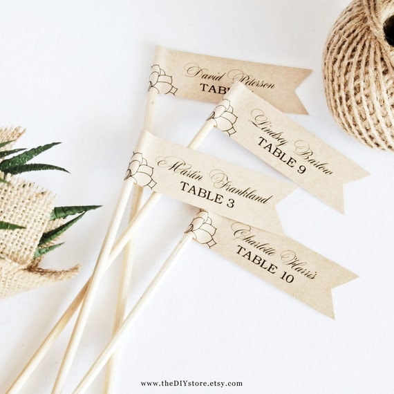 "Succulent DIY Escort Card Flags - 1 x 3"" Flags - Text Editable Template, Wedding Favor Flags, INSTANT Digital Download, Thank You Tag"