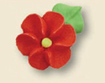 Royal Icing Red Flower-Includes 12 edible royal icing flowers.  These are perfect on baked goods!