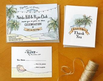 Beachy Keen: Painted Wedding Invitation and RSVP Postcard Suite / Deposit