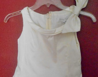 Girl's Sz 10 Formal White Dress - Lace Overskirt - Modest but Grown-up - Party - Dressy - Ingenue Innocent Sweet - Made USA