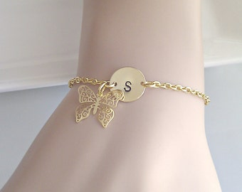 Gold Butterfly Bracelet, Butterfly Bracelet, Flower Girl Gift, Initial Jewelry, British Seller UK, Bridesmaid Gifts, Gifts for Bridesmaids