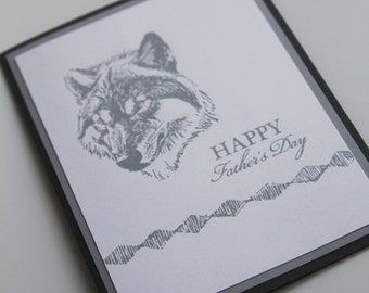 Grey Wolf Father's Day Card, Thinking of You Dad Greeting Card, Hand Made Card