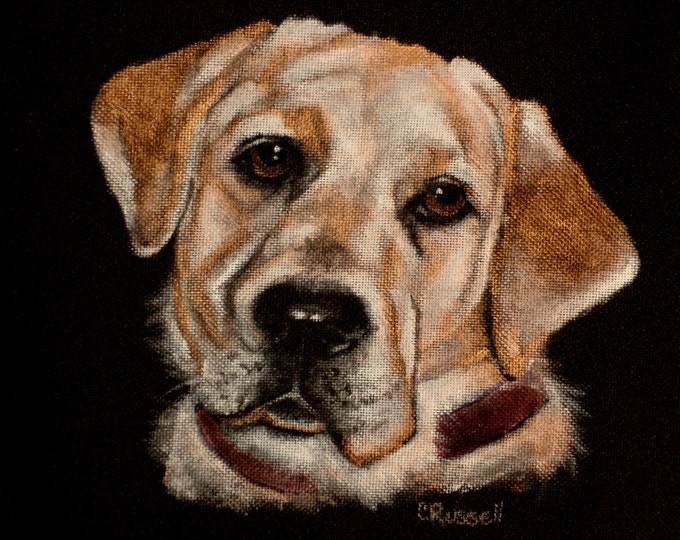 Featured listing image: SALE!! Price Reduced!! Backpack - Hand Painted Portrait of Lacey a Yellow Lab- Black Laptop Backpack