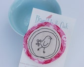 Bird Jewellery Fabric Bird Brooch  Circular Hand Sewn Bird Pin on Pink Cotton Floral Frame with Silver Pin / Decorative Accessory / UK Shops