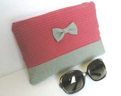 Mint green Make Up Cosmetic Bag with bow, Zipper Pouch, mint green cosmetic make up bag, fabric zipper pouch, fabric cosmetic bag