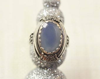 Vintage Sterling Silver Ring with Blue Glass Cabochon - Circa 1970
