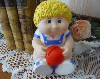 Vintage Cabbage Patch Boy Vinyl Bank 1983
