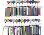2 in 1 Bling Multi - Colors Rhinestone Retractable Reel and Vertical ID Badge Holder