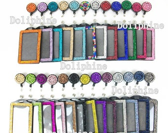 2 in 1 Bling Multi - Colors Rhinestone Retractable Reel and Vertical ID Badge Holder