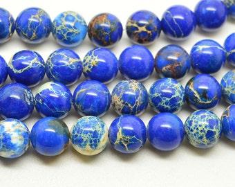 "16""  Sea  Blue  Imperial  Jasper  Round  Beads-- 10mm"