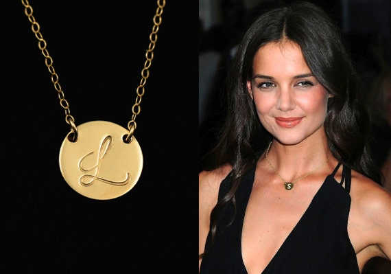 Initial Necklace Gold Disc Necklace Personalized Jewelry Initial
