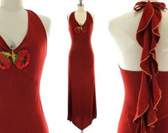 SALE vintage 70s hippie maxi dress / boho halter dress S