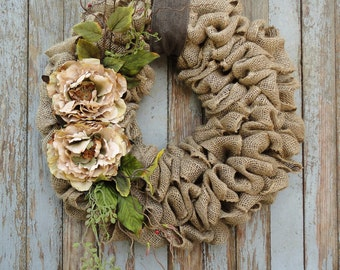 Wreath with Beige Peony flowers--Burlap Wreath--Grapevine Wreath--Rattan Wreath-Wreath with Earth Tone Flowers and Accents-Year Round Wreath