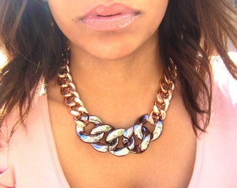 Oversize Rose Gold Chunky Chain Statement Necklace with Shiny Gunmetal Acrylic Links
