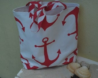 Premier  Pink Anchor Fabric Tote Bag