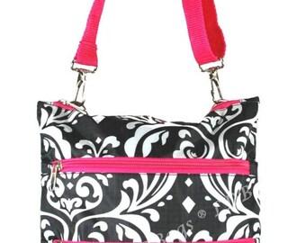 Messenger Bag | Passport Bag| Crossbody Bag | Shoulder Purse | Hipster Crossbody | Damask Cross Body Hot Pink
