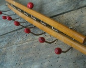 Vintage tie or scarf rack jewellery hanger made in Italy wood and wooden beads
