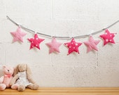 Pink star garland, Baby room decor, Baby girl nursery decor, Baby bunting garland