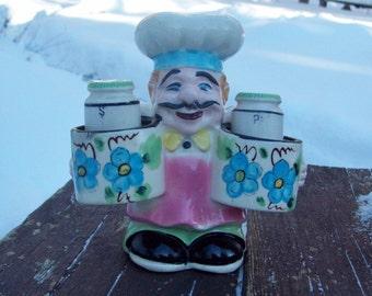 Vintage Figural Chef Salt and Pepper Shakers Set Japan