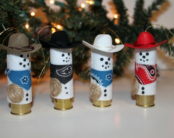 Cowboy Snowman Shotgun Shell Christmas Ornament made from a Shot Gun Shell.  Perfect Gift for any Cowboy or Hunter