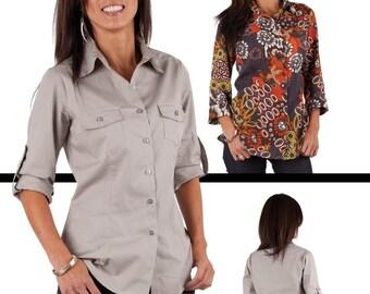 Jalie Women's Shirt Sewing Pattern # 3130 size 0-22 Classic Button Front & Back Yoke