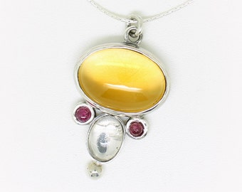 Golden Citrine pendant with Tourmaline Rubylite and clear Crystal, Citrine and silver pendant, semi precious necklace, one of a kind jewelry