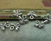 100pcs 10x11mm Antique Silver bee Charm Pendant Connector Link c6541