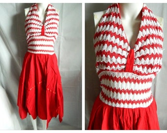 Vintage Red 50's Style Halter Dress Car Wash Style Bottom Size Small