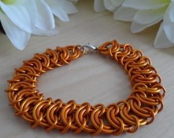Orange Centipede Chainmaille Bracelet
