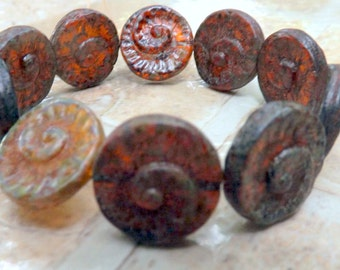 Czech Fossil  Beads Mixed Beads Brown Ivory Opaque with Picasso (17mm) 6 pieces
